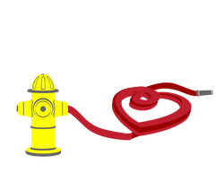 Hearts Afire Hydrant and Heart Hose Illustration